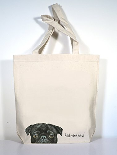 Pug Tote Bag, Black OR Fawn Personalized Pug Tote, Add Custom Text of Your (Fawn Canvas)