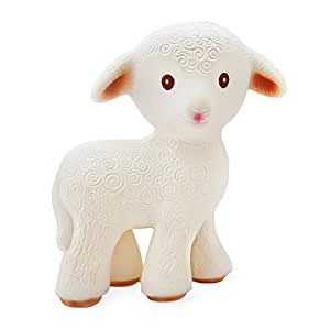 CaaOcho Friends - Mia the Lamb Teething Toy - 100% Pure Natural Rubber, BPA, PVC, phthalates Free