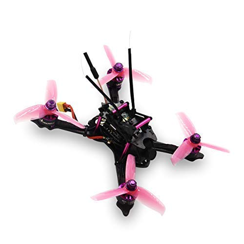 HGLRC XJB-145 FPV Racing Drone 145mm Carbon Fiber Frame Kit OSD F4 Flight Controller 1407 3600KV Brushless Motor 28A 4 in 1 ESC 25/100/250mW VTX (Purple with Frsky XM+)