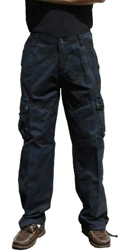 STONE TOUCH Men's Military-Style Cargo Pants 36x34 Navy Camo #27C1