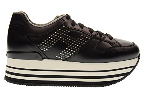 Hogan Frauen-Niedrige Schuhe mit Keil Turnschuhe HXW2830AA70KLAB999 H283 Black