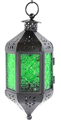 Green Glass Hanging Moroccan Candle Lantern with Chain
