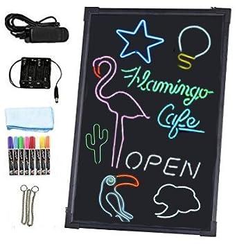 Pizarra Led luminosa - Incluye rotuladores de colores, cable y conector de alimentación y mando para cambiar la iluminación.