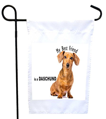Cheap Rikki Knight My Best Friend is a Brown Daschund Dog House or Garden Flag, 12 x 18-Inch Flag Size with 11 x 11-Inch Image