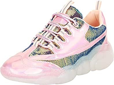 Cambridge Select Women's Retro 90s Ugly Dad Iridescent Sequin Lace-Up Chunky Platform Fashion Sneaker,6 B(M) US,Pink