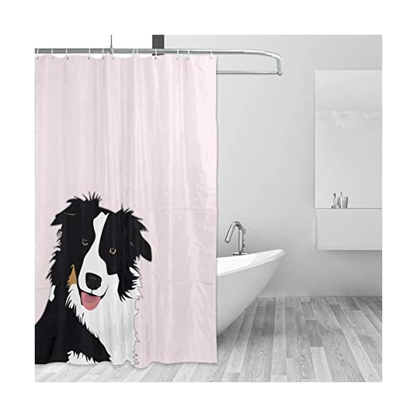 "Perfect Appearance Border Collie Shower Curtain 7-12 Grommet Holes Waterproof Thick Bathroom Plastic Shower Curtains 55.1"""" W X 71.1"""" H No Chemical Odor Rust Proof Grommets 2"