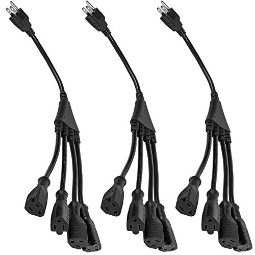 4 Way Power Splitter - 1 to 4 Cable Strip With 3 Pronged Outlet and 1.5 Foot Y Style Extension Cord - Black - SJT 16 AWG - By Luxury Office (3, 1.5 Ft) (Power Splitter)
