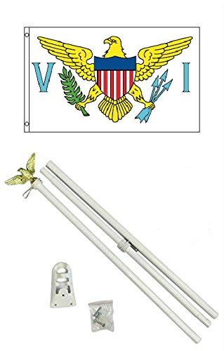 US Virgin Islands 3'x5' Polyester Flag With 6' White Flag Pole (White Flag Virgin Islands)