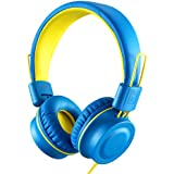 Kids Headphones-noot products K33 Foldable Stereo Tangle-Free 3.5mm Jack Wired Cord On-Ear Headset for Children/Teens/Boys/Girls/Smartphones/School/Kindle/Airplane Travel/Plane/Tablet (Electric Blue)