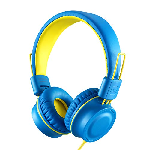 Kids Headphones-noot products K33 Foldable Stereo Tangle-Free 3.5mm Jack Wired Cord On-Ear Headset for Children/Teens/Boys/Girls/Smartphones/School/Kindle/Airplane Travel/Plane/Tablet (Electric Blue) (Best Smartphone For Child)
