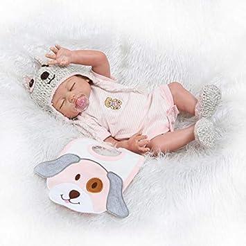 ZIYIUI 20 Realista Reborn Bebé Muñecas Silicona de Cuerpo Completo Recién Nacido Hecho a Mano Dormido Niña Regalo de cumpleaños Juguetes para ...