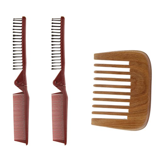 Price comparison product image D DOLITY 2Pcs Plastic Pocket Travel Folding Hair Brush Comb + 1pc Green Sandalwood Wide Toothed Comb Anti Static for Men & Women