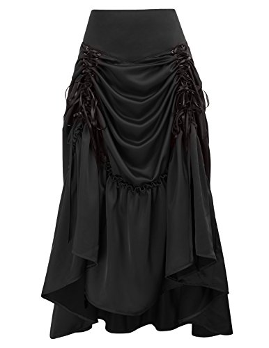 (Belle Poque Striped Steampunk Gothic Victorian High Low Skirt Bustle Style (Large,)