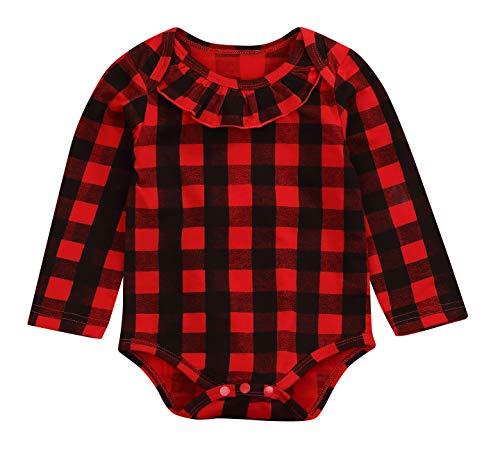 Newborn Christmas Baby Girl Boy Blouse Plaid Deer Plaid Flannel Romper Bodysuit Clothes (Red Black, 18-24 ()