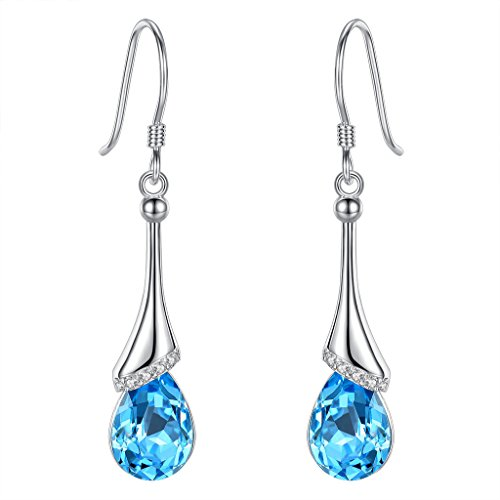 EVER FAITH 925 Sterling Silver CZ Elegant Teardrop Chandelier Hook Dangle Earrings Light Blue Adorned with Swarovski crystals ()