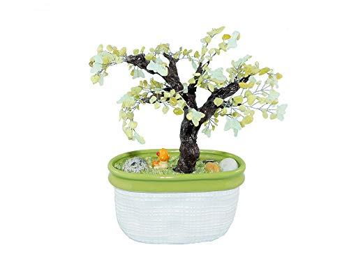 """9.1"""" Serpentine New Jade Maple Bonsai with Glowing in a Dark Butterflies in Ceramic Pot. Handmade Feng Shui Gem Tree. Nursery Office Decor"""