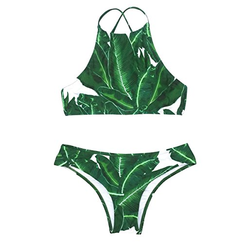 Cupshe Fashion Women's Forest Leaves Printing Tank Padding Bikini Set (L)