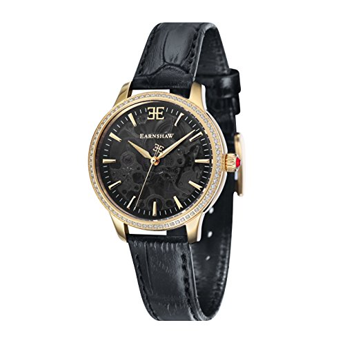 Thomas Earnshaw Women's 'LADY' Mechanical Hand Wind Stainless Steel and Leather Casual Watch, Color:Black (Model: ES-8056-01)