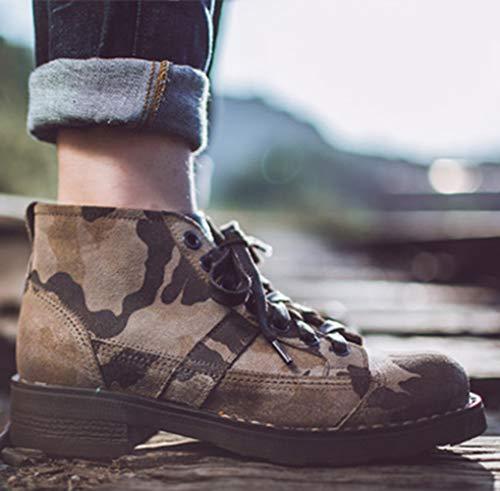 Zapatos Masculino 38 colored Wdyy Caballo De Camuflaje multi Zapatos Cuero Alto Hombre Lordson wfzFqfIR