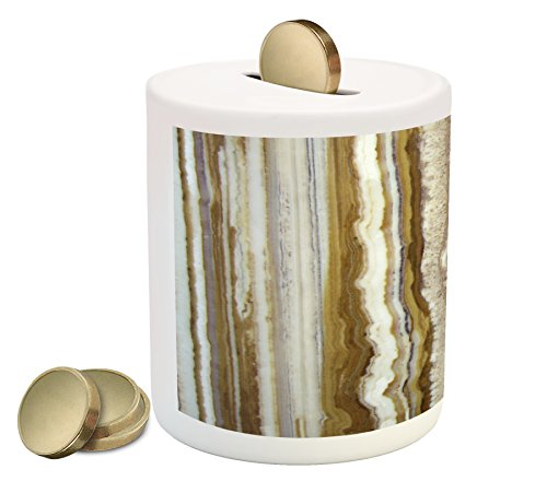 Onyx Vertical Line (Marble Coin Box Bank by Ambesonne, Onyx Marble Rock Themed Vertical Lines and Blurry Stripes in Earth Color Print, Printed Ceramic Coin Bank Money Box for Cash Saving, Mustard Brown)