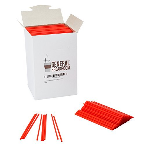 """General Breakroom 2000-count, 5 1/2"""" Coffee and Cocktail Drink Stirrer Straws, Red"""
