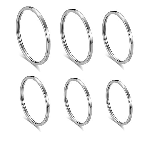 ALEXTINA Women's 6 Pieces Stainless Steel 1MM Silver Thin Midi Stacking Rings Plain Band Comfort Fit Size 4 to 9 ()