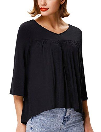 GRACE KARIN Women's Feminine Flare Wear With Jeans 3/4 Bell Sleeve Criss Cross Ribbed Blouses Knit Shirts V Neck Quarter Sleeve Tops Boho Dressy Shirts For Women (L,Black) - 3/4 Sleeve Ribbed Knit Top