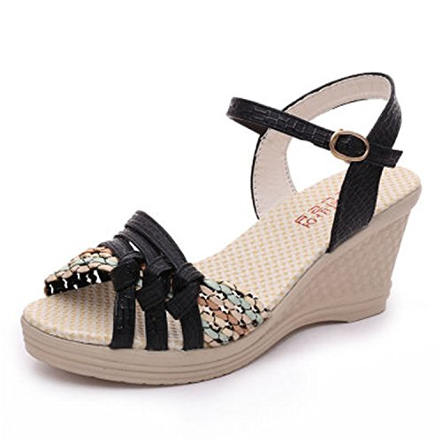 Women's Shoes New Summer Women's Wedges Sandals Platform Shoes Platform Straw Braid Color Block high-Heeled Shoes M2 Black 8