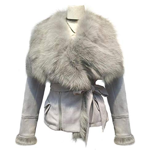 She'sModa Real Fox Fur Collar Coat with Belt Slim Fit Women'