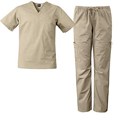 Medgear Men's Stretch 12-Pocket Utility Unisex Scrub Set