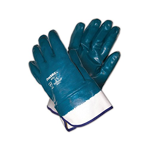 (MCR Safety 9761 Predator Fully Coated Nitrile, One Size Fits All, Blue/White (Pack of 12))