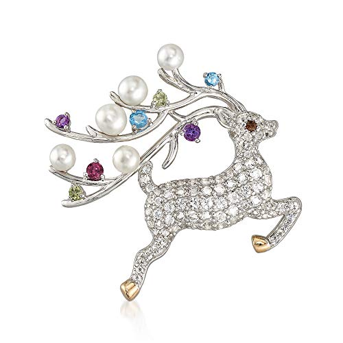Ross-Simons Cultured Button Pearl and 1.63 ct. t.w. Multicolored Multi-Stone Reindeer Pin Pendant in Sterling Silver and 14kt Gold ()