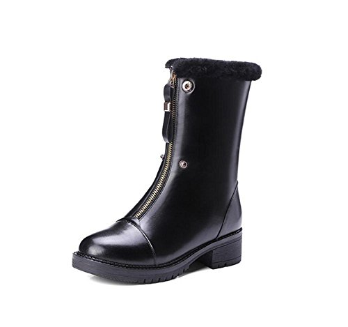 Plus Boot 35 Velvet 36 camel Vera cerniera spessa centrale stivali anteriore pelle sopra donna Flip Martin suola Ivx4a1qwv
