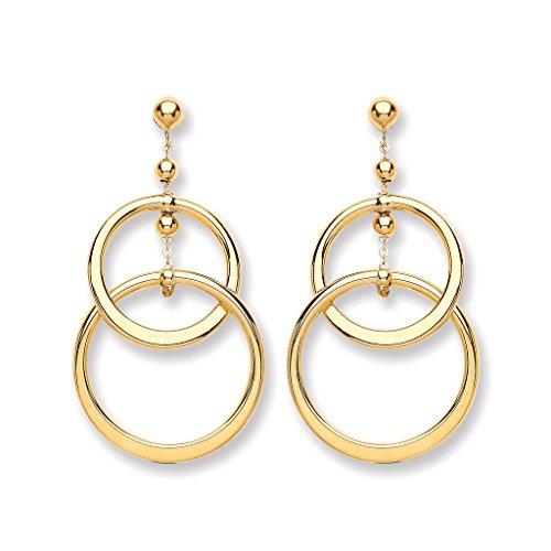 Jewellery World Bague en or jaune 9carats deux Cercle Boucles d'oreilles pendantes