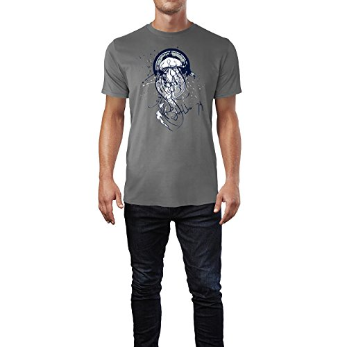 SINUS ART ® Qualle im Street Style Herren T-Shirts in Grau Charocoal Fun Shirt mit tollen Aufdruck