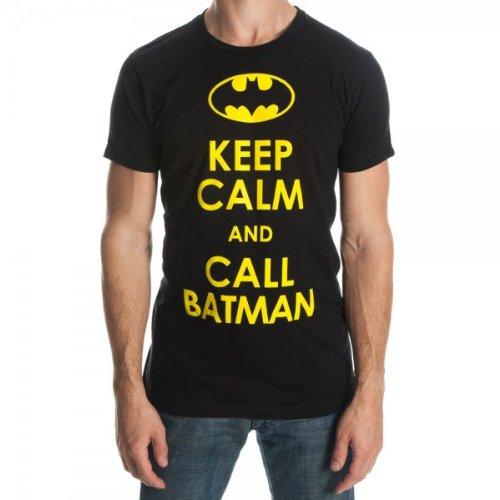 Batman Keep Calm and Call Batman Men's Black Tee