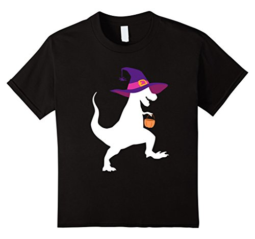 Kids T-Rex Witch with Pumpkin Halloween Costume T-shirt 6 Black