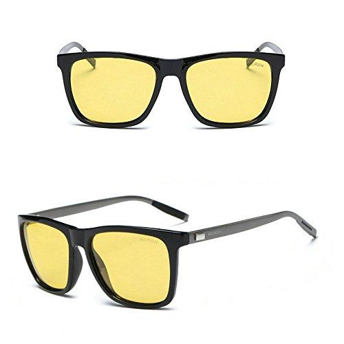 Aluminium Men's Polarized Driving Mirrored Sunglasses Black/Night Slight - Hong Sunglasses Brand Kong