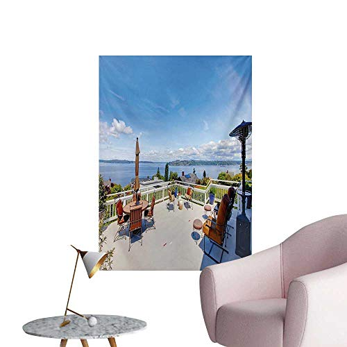 Landscape Wall Picture Decoration White Ancient House Terrace Balcony for Sunbathing Relaxing Sea Ocean SceneryMulticolor W32 xL48 Poster Paper