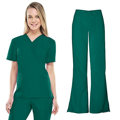 Cherokee Workwear Women's 4700 Top & 4101 Pant Medical Uniform Scrub Set (Hunter - Small)