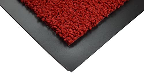 BRAVICH® RED Medium Non-Slip Heavy Duty Entrance Door Mat Commercial Office Outdoor Dirt Trapper Barrier Indoor Rubber Washable Mats Runner Premium High Qualtiy 60x80cm (2'x2'6