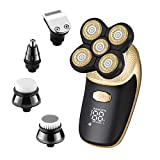 Electric Razor For Men 5 in 1 Bald Men Shaver Beard Trimmer Grooming Kit Rotary Shaver Waterproof Electric Shaver LED Display USB Rechargeable