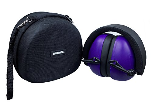Instapark EX-30 Battery-powered Sound Amplification Electronic Active Safety Earmuffs with Hardshell EVA Double-zippered Storage/Carrying Case, One Size Fits Most (Purple)
