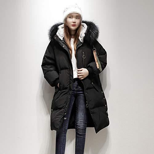 D'hiver Femme Col Fourrure Veste Capuche Grand Ample Long Coréenne En Noir Doudoune Avec UxqC5wf