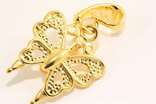 10pcs Beautiful Top Quality Butterfly Pendant Bail Beads 20x35mm 14k gold plated for Jewelry Making CF29-G
