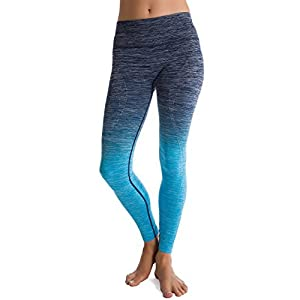 Homma Ultimate Stretch Comfort Moisture Whicking Women's Ombre Yoga Running Workout Leggings (LARGE, Navy/Blue)