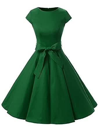 Dressystar DS1956 Women Vintage 1950s Retro Rockabilly Prom Dresses Cap-Sleeve XS Army Green