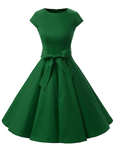 Dressystar DS1956 Women Vintage 1950s Retro Rockabilly Prom Dresses Cap-Sleeve XXL Army Green - Full Skirt Dress