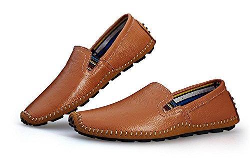 BIFINI Men's Cowhide Casual Driving Moccasins Shoes Slip On Loafer Brown by BIFINI (Image #5)