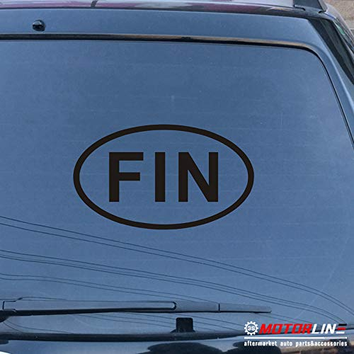 3S MOTORLINE Finland FIN Oval Country Code Decal Sticker Car Vinyl no bkgrd Finnish Pick Size (Black, 16'' - Fin 3s